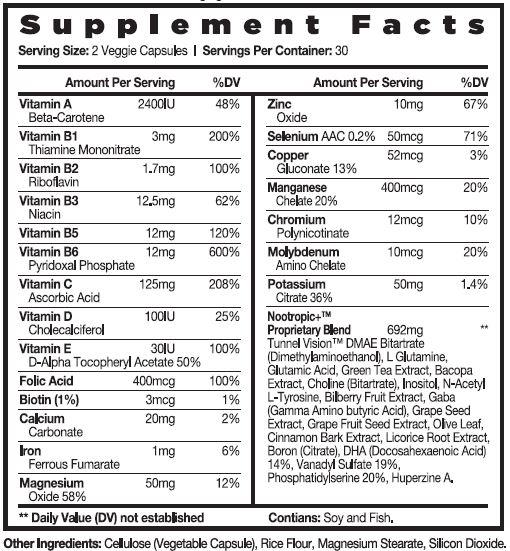 NeuroTech Max Supplement Facts