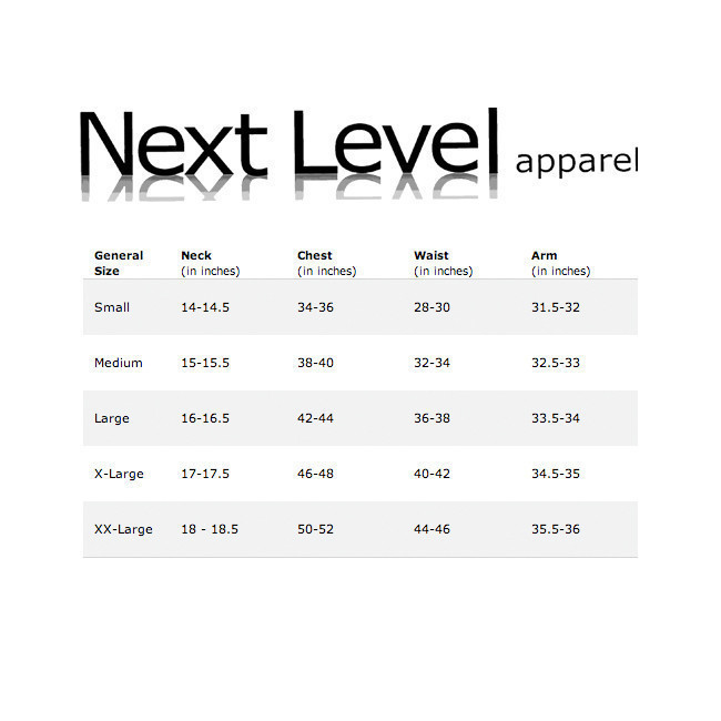 Next Level Men's T-Shirt Sizing